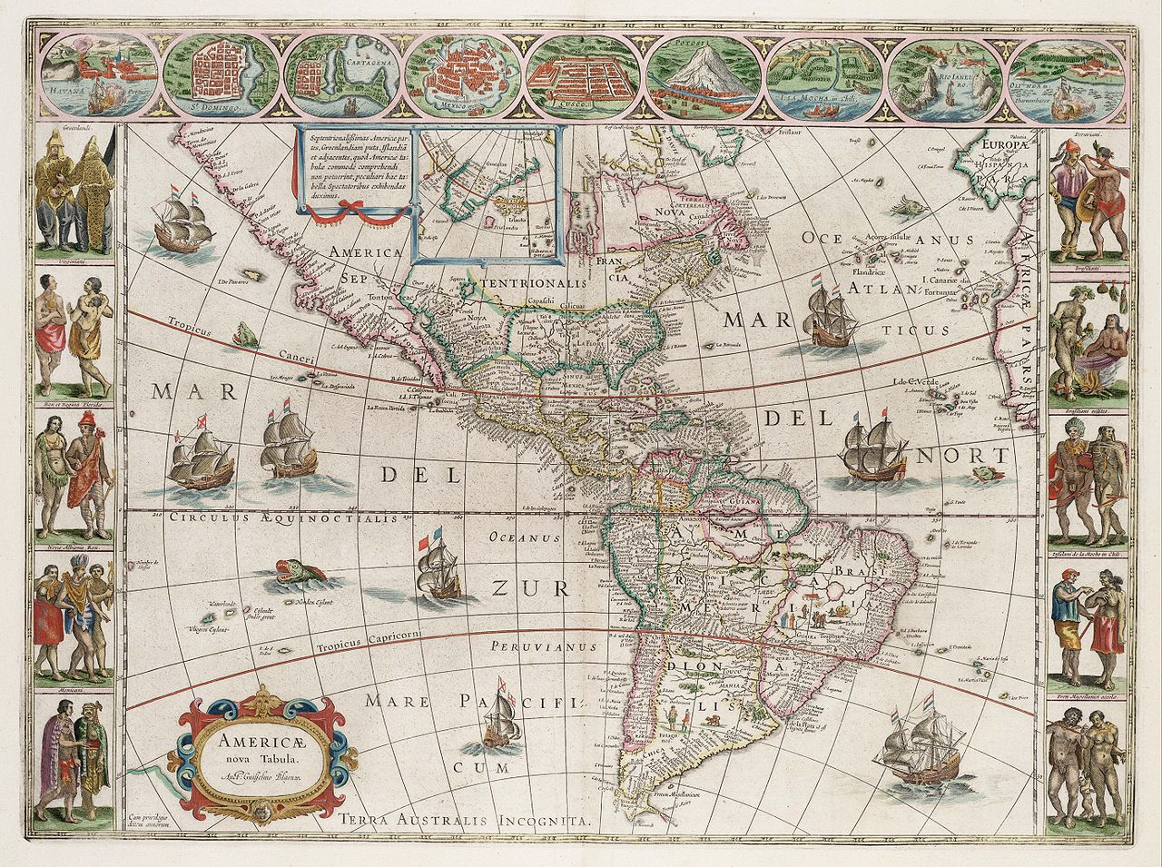 america tapestry Old map of South