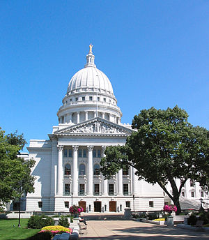 The state capitol of Madison, Wisconsin
