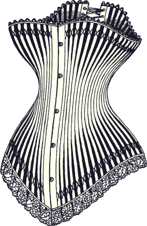 A luxury hourglass corset from 1878, featuring...