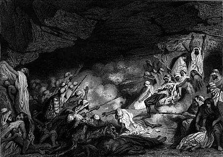Les Grottes du Dahra, eau-forte de Tony Johannot[7].
