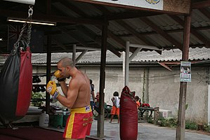 "A muay thai fighter ""working his hands&qu..."