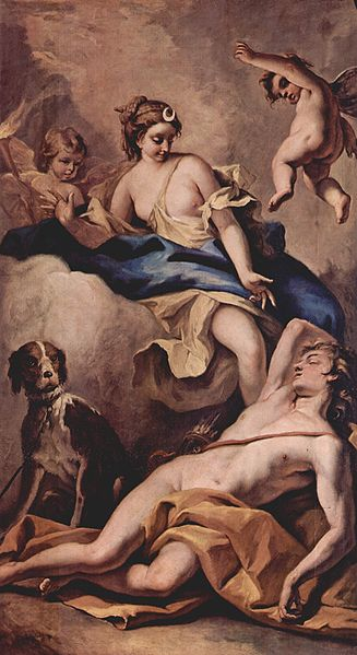 Sebastiano Ricci, Selena i Endymion, 1713 (Chiswick House, Londyn)