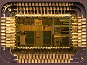 Die of an Intel 80486DX2 microprocessor (actua...