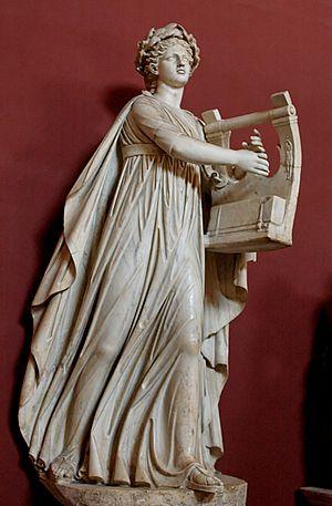 Apollo kitharoidos (holding a kithara) and mus...