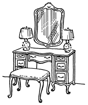 English: Illustration of a dressing table.