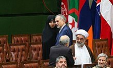 Hassan Rouhani's daughter speaking with his brother Hossein Fereydoun