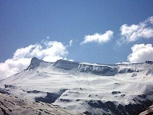 English: A panoramic view of distant Himalayan...