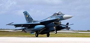 English: JASDF F-2 fighters arrive in Andersen...