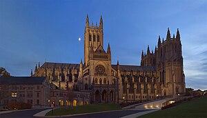 Washington National Cathedral at twilight, vie...