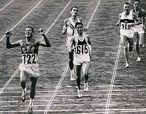 Billy Mills winning the 10,000m in the 1964 Ol...