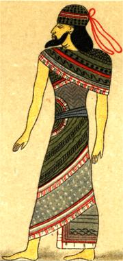 Grabado que muestra una vestimenta tipica asiria hacia 1400a.C.