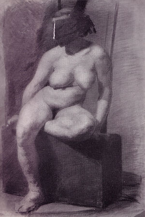 """""""Nude woman, seated, wearing a mask""""..."""