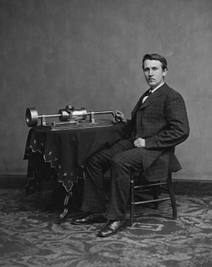Thomas Edison and his early phonograph. Croppe...