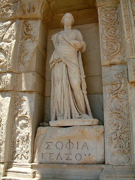 Personification of wisdom (in Greek, Σοφία or Sophia) at the Celsus Library in Ephesus, Turkey.