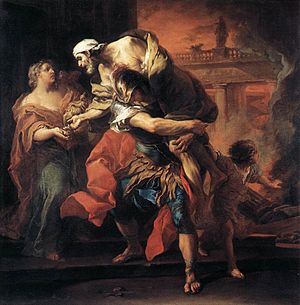 Aeneas Bearing Anchises from Troy, by Carle va...
