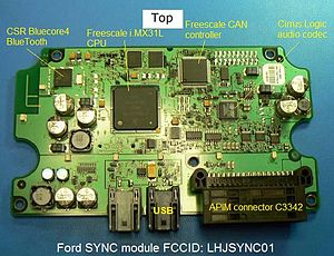Top side of the circuit board in Ford's SYNC m...