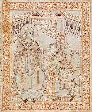 Pope Gregorius I dictating the gregorian chants