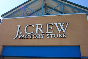 Exterior signage in front of J. Crew's Factory...