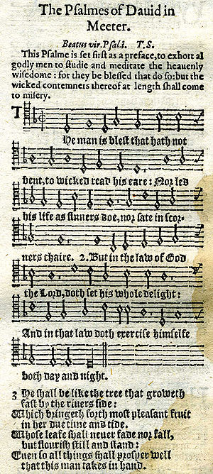 Psalm 1 in 1628 printing with tune, metrical v...