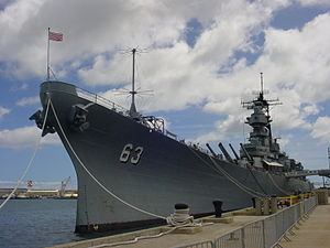 USS Missouri in Pearl Harbor, Hawaii.