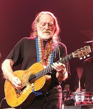 "Willie Nelson and his guitar ""Trigger"""