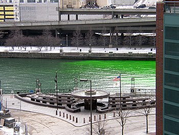 Fluorescein in the Chicago River on the St. Pa...