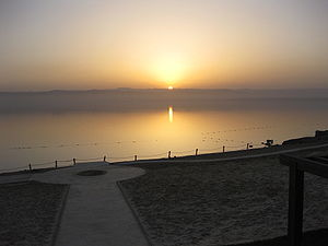 Dead Sea at sunset from Jordan looking westward.