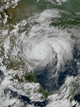 Hurricane Harvey near the coast of Texas at peak intensity late on August 25, 2017. Author: ABI image captured by NOAA's GOES-16 satellite