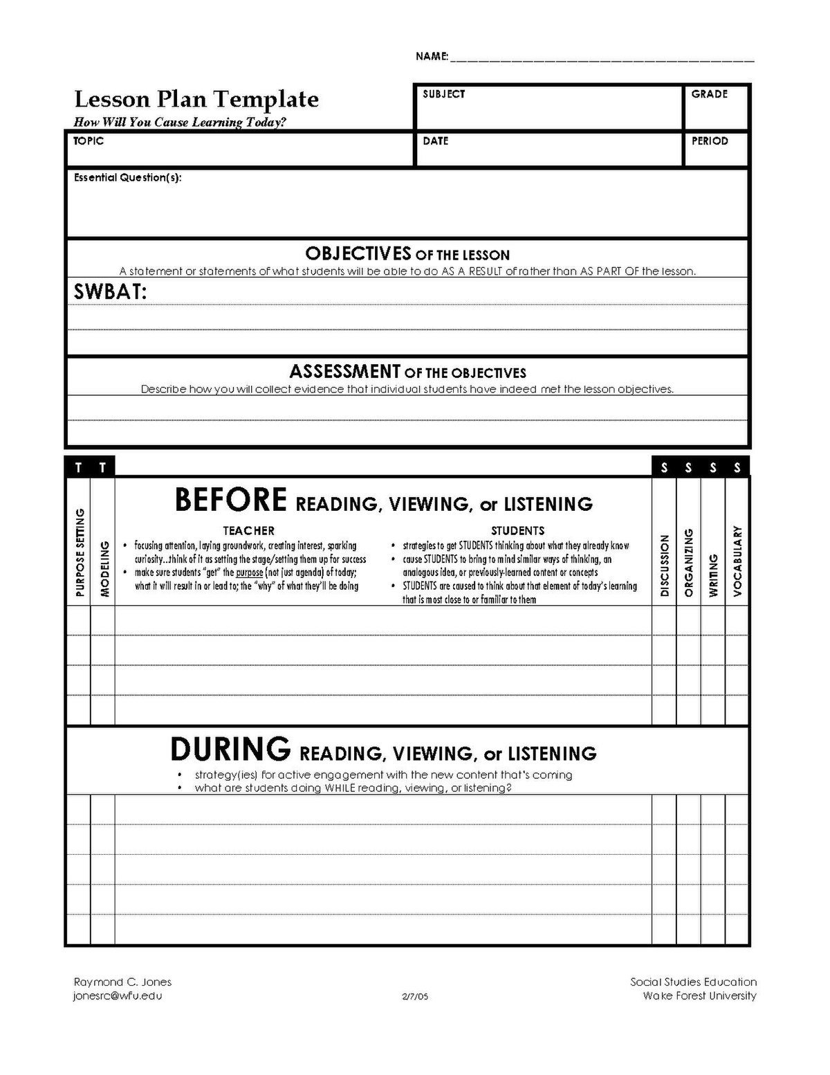 File Lesson Plan Template