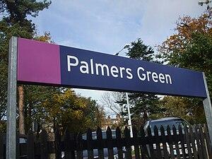 Palmers Green station platform signage
