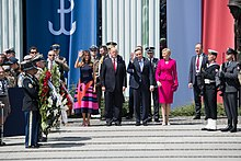 Duda with U.S. President Donald Trump and Melania Trump in Warsaw