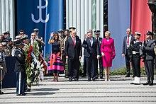 Duda with U.S. President Donald Trump and Melania Trump in Warsaw