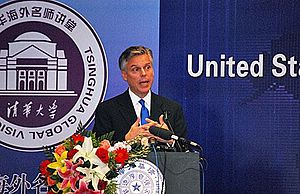 Ambassador Jon Huntsman was giving a speech at...
