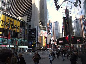 View from outside Toys R Us Times Square towar...