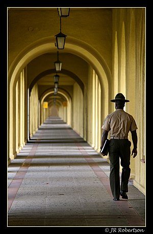 A lone Drill Instructor walks the long hallway...