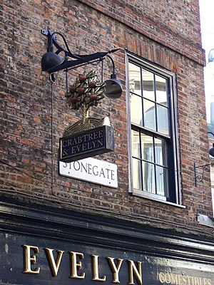 English: A crabtree in Stonegate. Sign over Me...