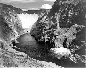"Looking across water to dam, ""Boulder (Ho..."
