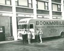 EPLD Bookmobile outside Parkway Towers, 1972