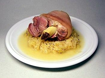 Pickled Eisbein, with Sauerkraut. Eisbein is h...