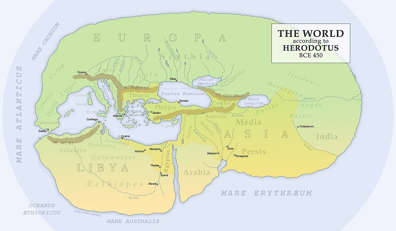 World map extrapolated from Herodotus