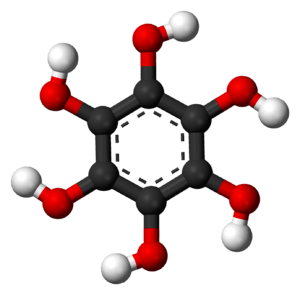 Ball-and-stick model of the hexahydroxybenzene...