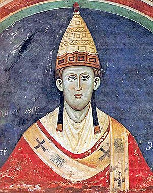 English: Pope Innocent III wearing a Y-shaped ...
