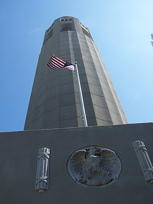 Looking up at Coit Tower.