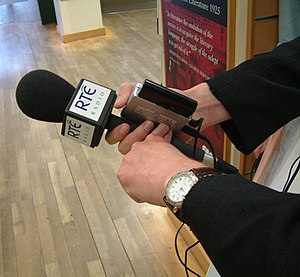 An RTÉ Radio microphone in Dublin, waiting for...