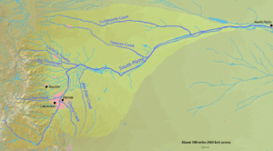 English: Map of the South Platte River watersh...
