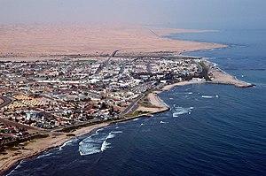 Close-up aerial photo of Swakopmund (Namibia)