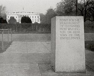 Zero Milestone (1923), The Ellipse, Washington...