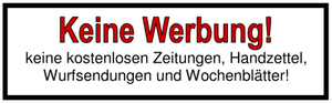 Deutsch: Aufkleber Keine Werbung, Keine kosten...