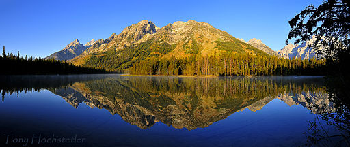Early morning panorama of String Lake, Grand Teton National Park - Northwestern Wyoming, USA