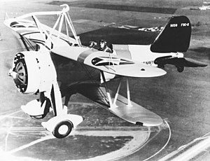 A Curtiss F9C-2 Sparrowhawk (BuNo 9058) in fli...
